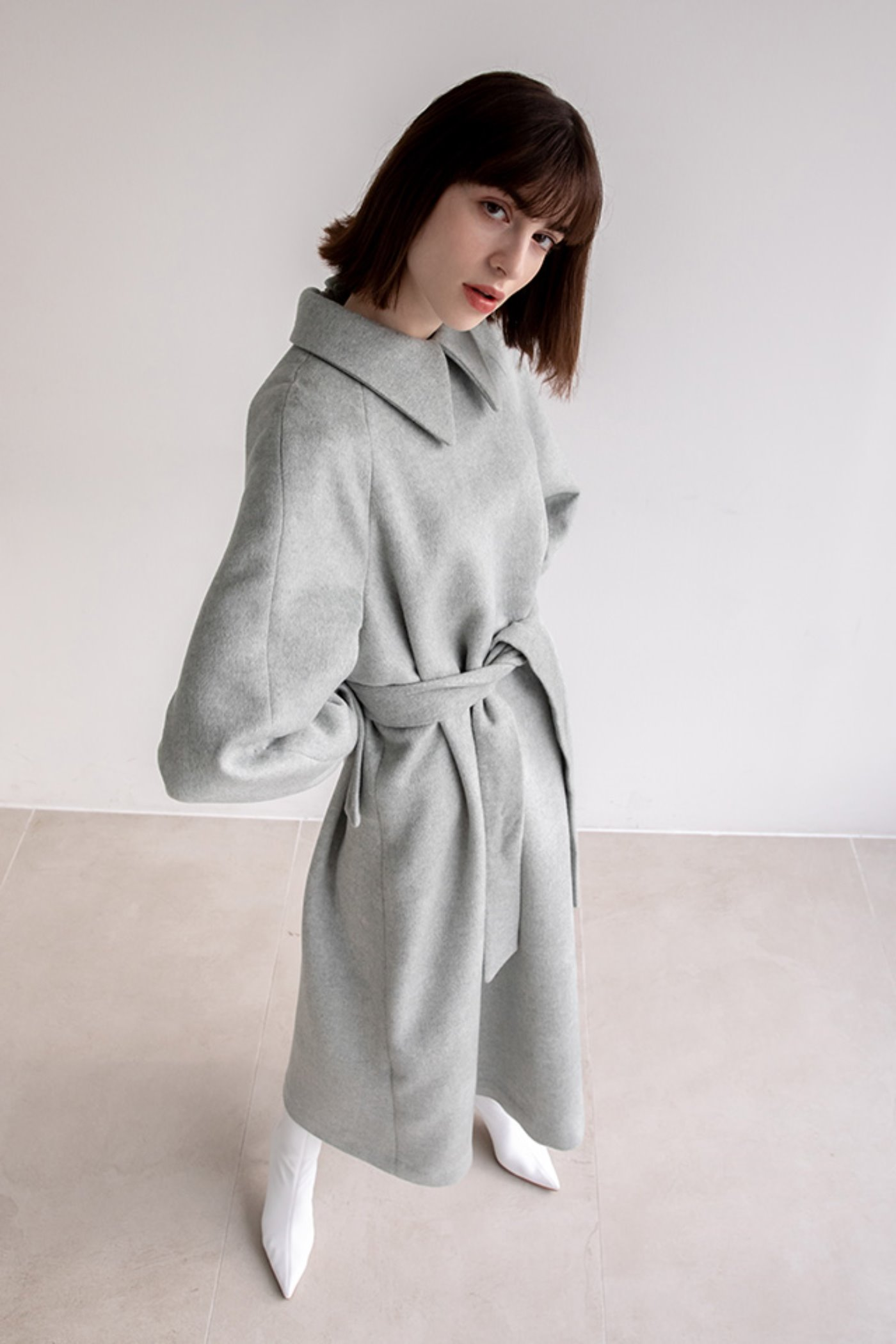 Cashmere belted dress (Mint gray)  [Woman]