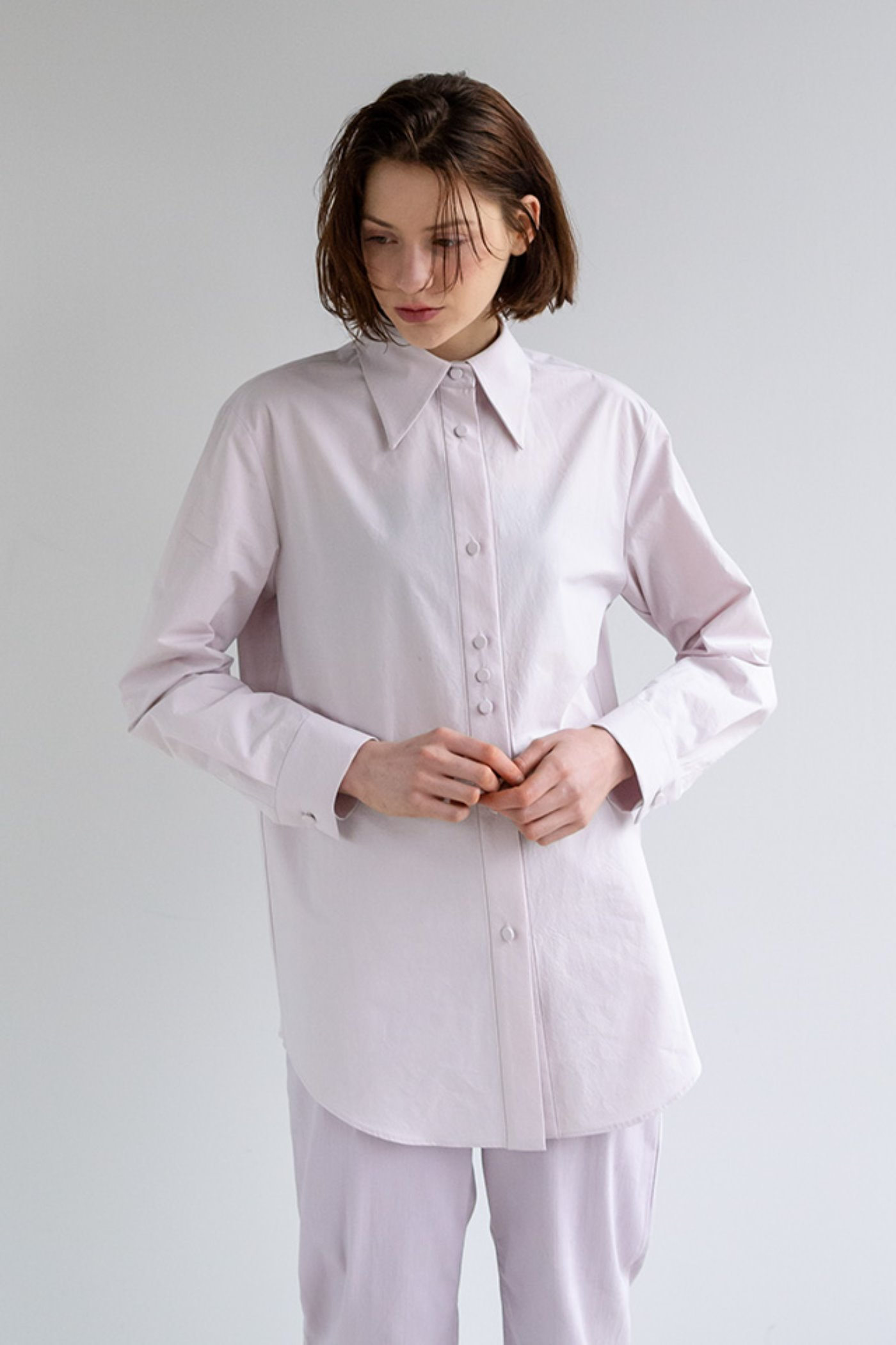 Covered button shirt (Purple)  [Woman]