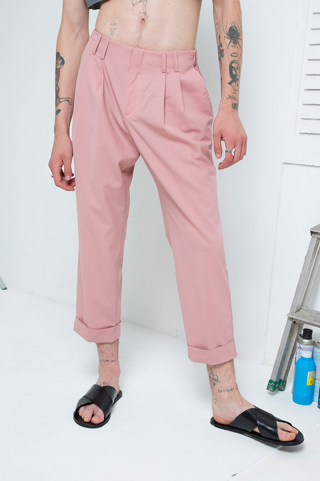 Folded crop pants (Indi pink) #C7S7Mpt-103