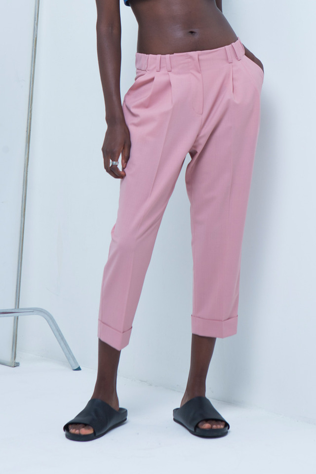 Folded crop pants (Pink) #C7S7Mpt-103