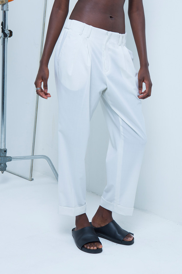 Folded crop pants (White) #C7S7Mpt-103