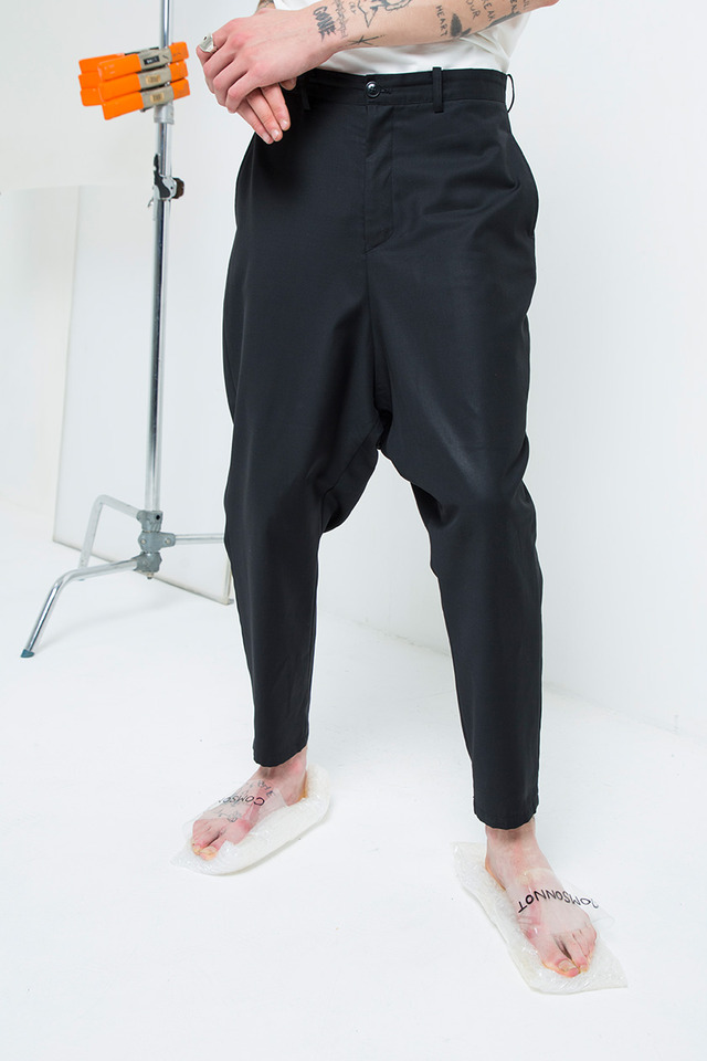 Wool baggy pants (Black)  [Unisex]
