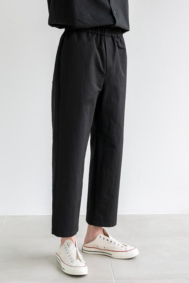 Wide banding pants (Black)  [Man]