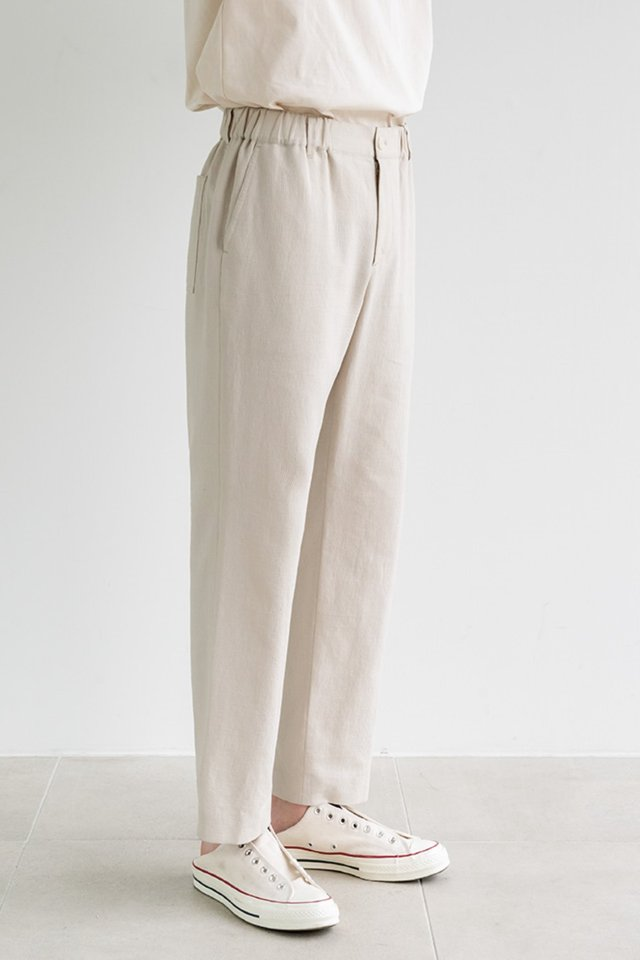 Straight banding pants (Beige)  [Man]