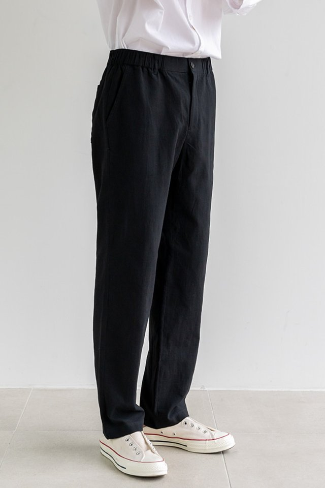 Straight banding pants (Black)  [Man]