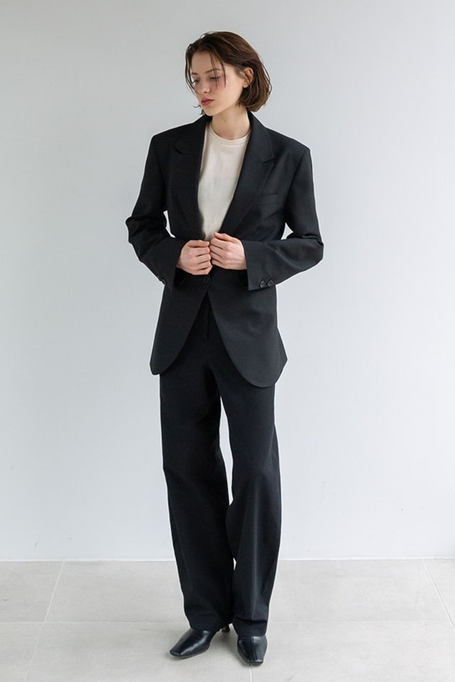 Wide draft pants (Black)  [Woman]