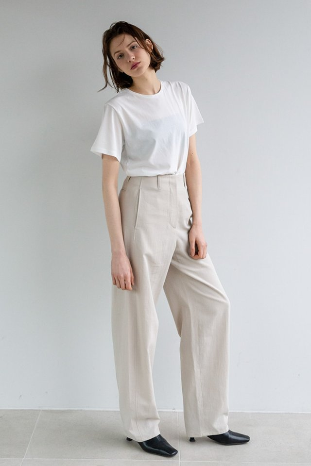 Wide draft pants (Beige)  [Woman]