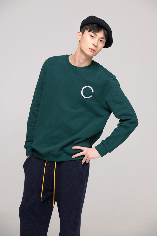 Basic cigarette sweat shirt (Deep green) #C7S7Wts-019