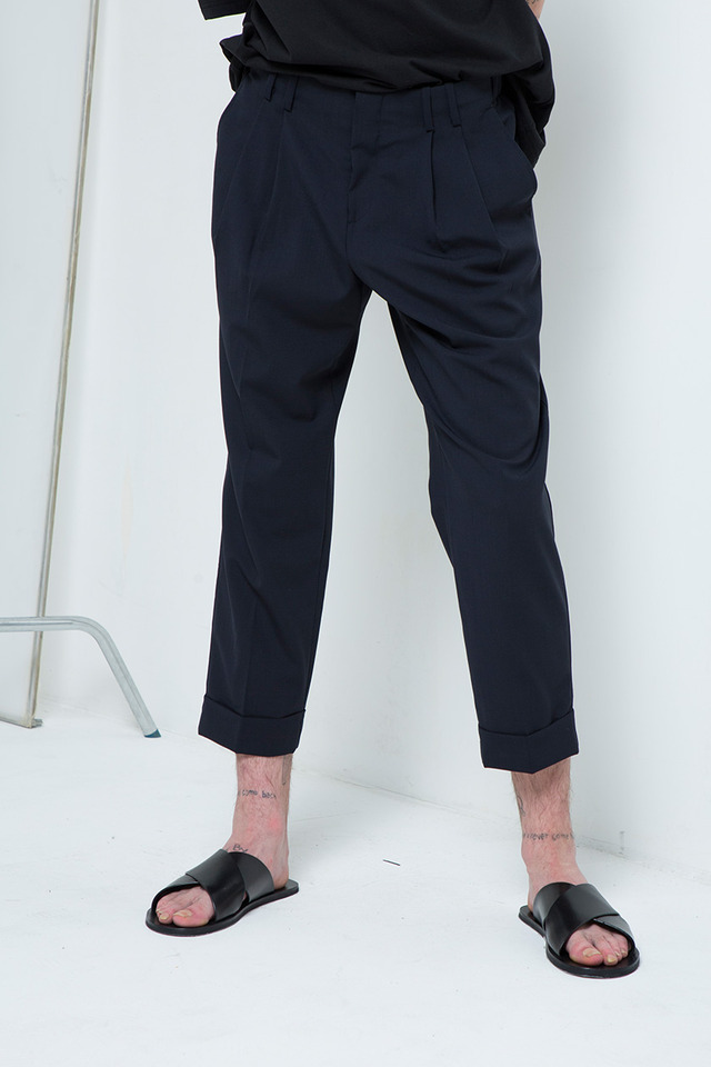 Folded crop pants (Dark navy) #C7S7Mpt-103