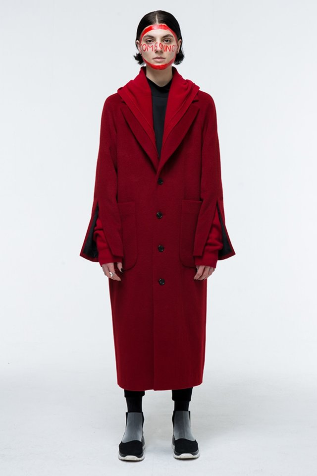 Hoody layered long coat (Red) #C7S7Wco-203