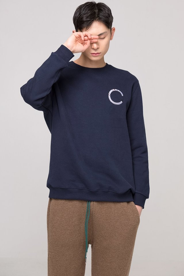 [1차 재입고 완료]Basic cigarette sweat shirt (Navy) #C7S7Wts-019  [Thank you]