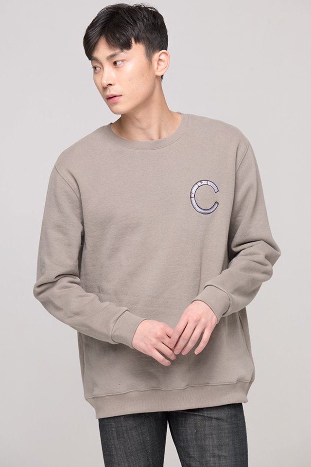 [1차 재입고 완료]Basic cigarette sweat shirt (Beige) #C7S7Wts-019 [Thank you]