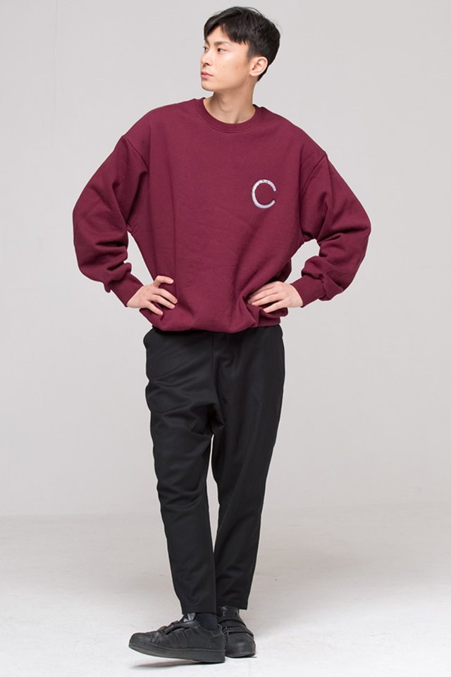 Cigarette over fit sweat shirt (Burgundy) #C7S7Wts-012