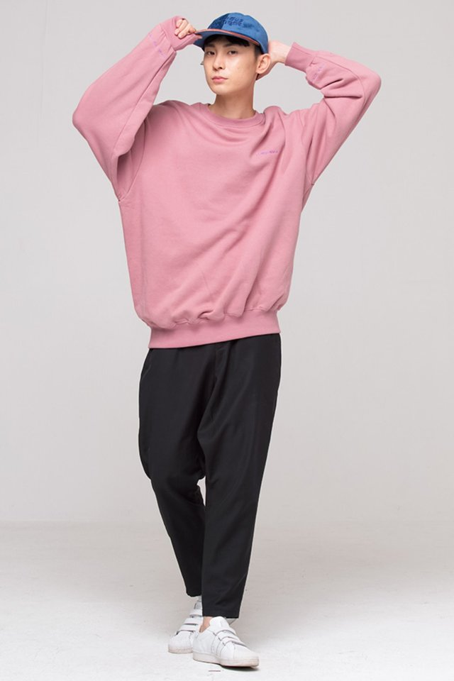 Basic logo over fit sweat shirt (Indi pink) #C7S7Wts-010