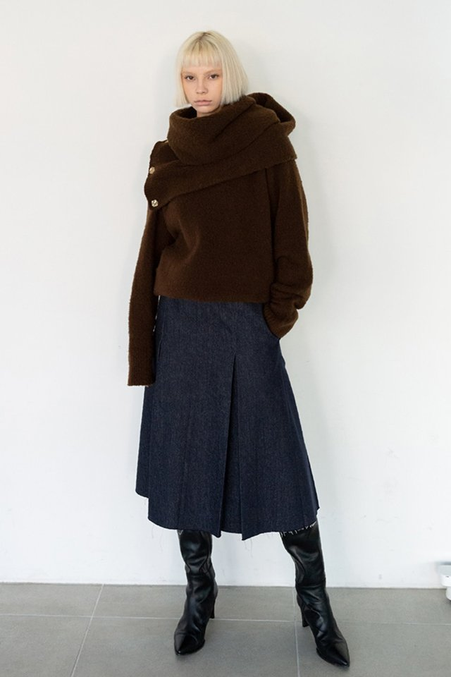 Yak muffler knit (Deep brown)  [Woman]