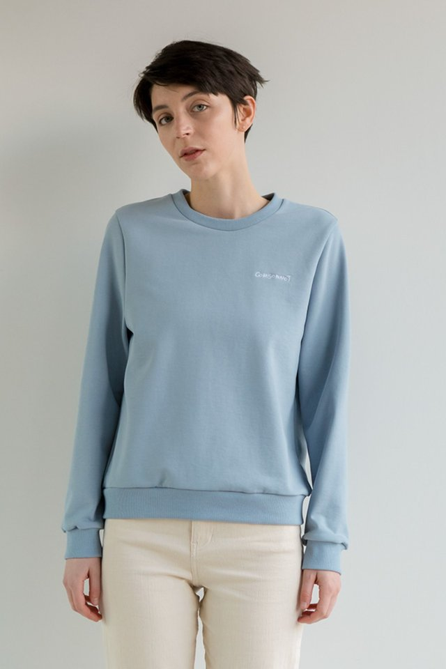 Lettering sweat shirt (Indi blue)  [Unisex]