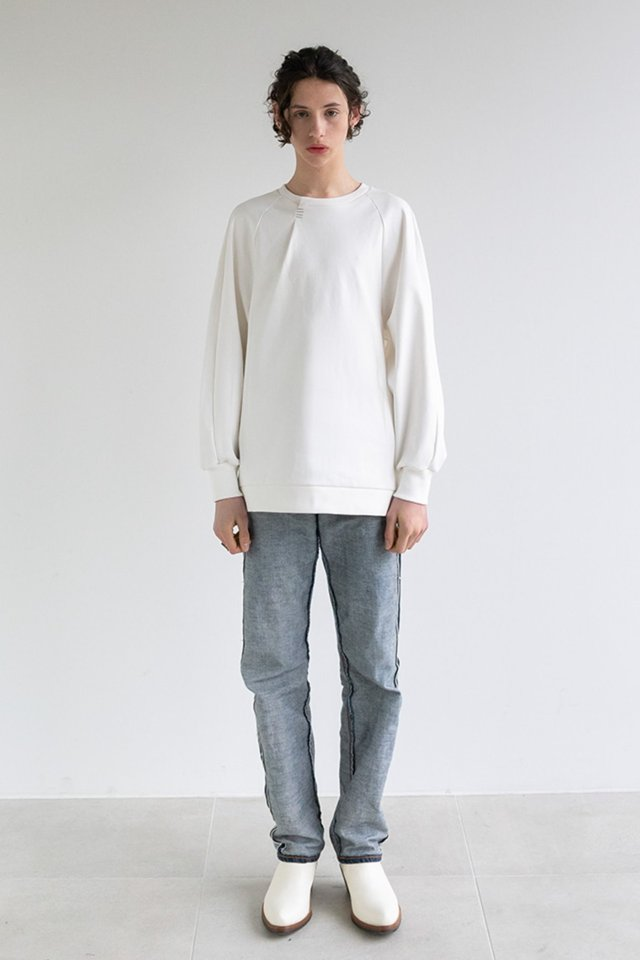 Bartack sweat shirt (Ivory)  [Unisex]