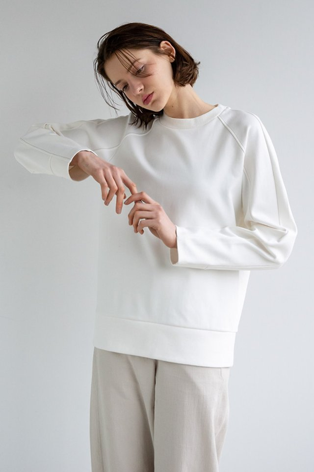 Raglan stitch sweat shirt (Ivory) [Woman]