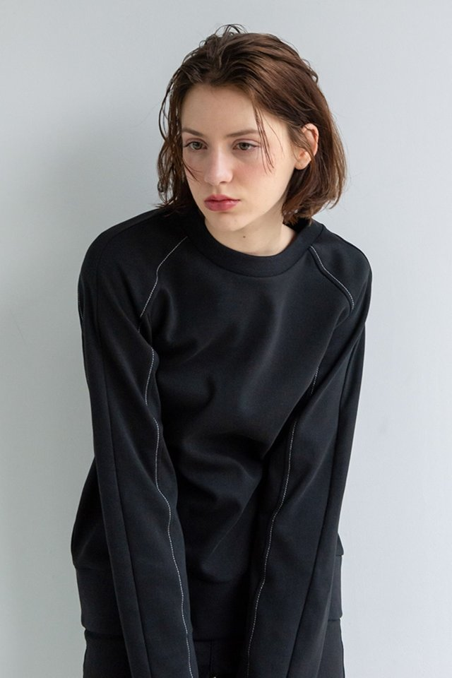 Raglan stitch sweat shirt (Black)  [Woman]