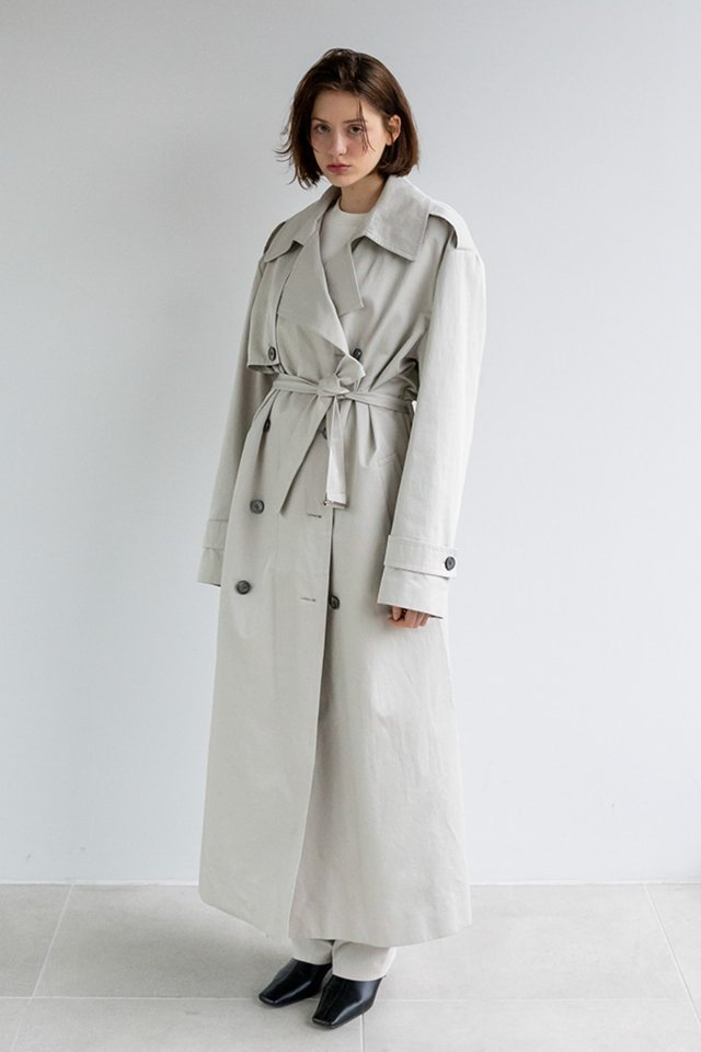 Over fit trench coat (Mint beige)  [Unisex]