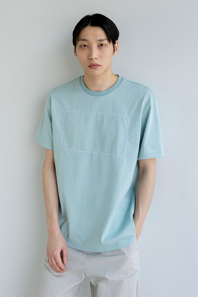 Rectangle stitch t-shirt (Celadon tint)  [Unisex]