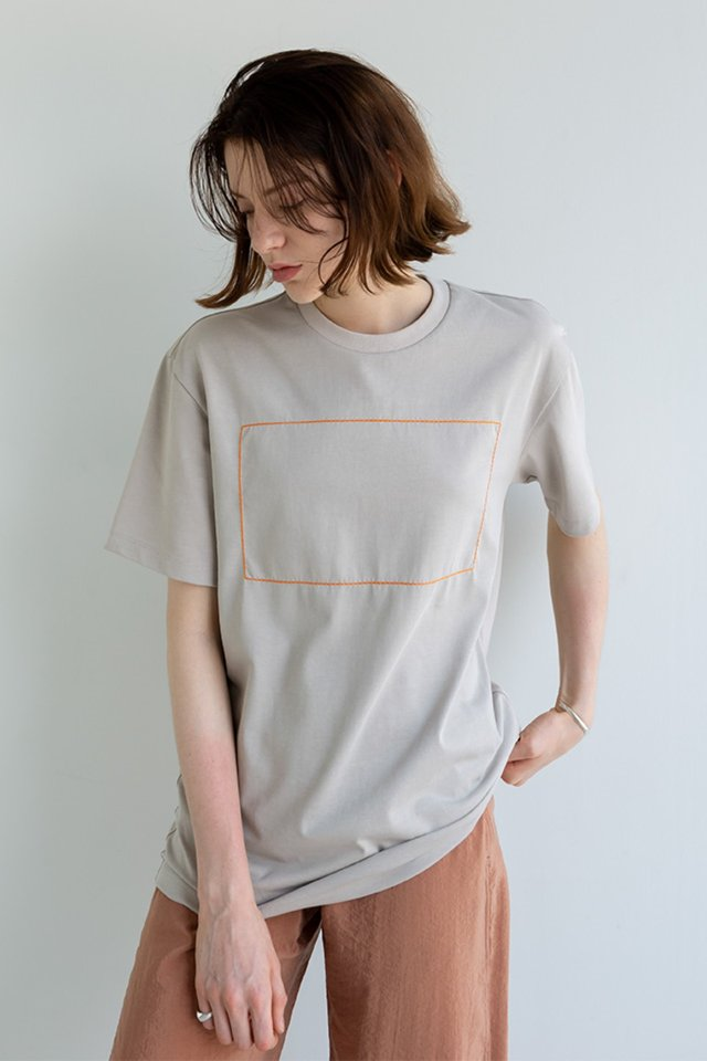 Rectangle stitch t-shirt (Ice beige)  [Unisex]